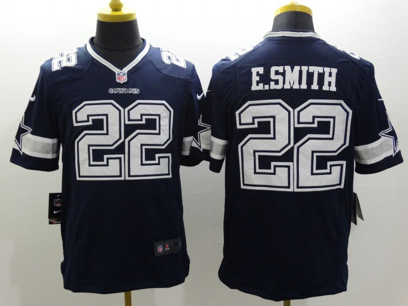 Dallas Cowboys 22 E-Smith Blue Nike Limited Jerseys
