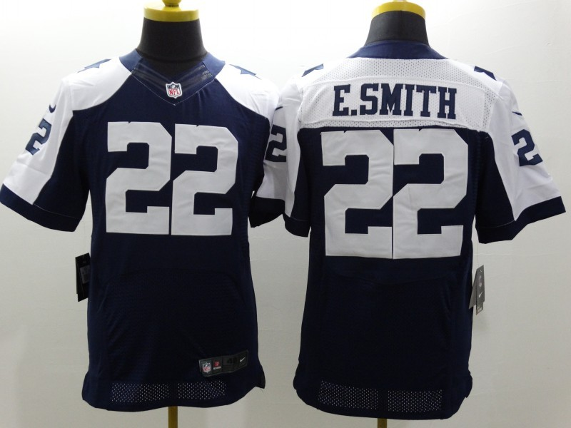 Dallas Cowboys 22 E-Smith Blue Thanksgiving Nike Elite Jerseys