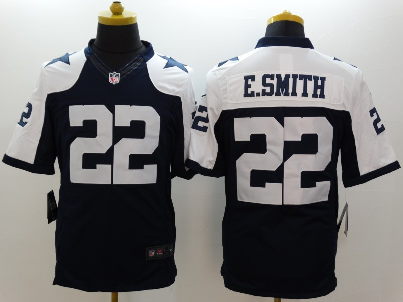 Dallas Cowboys 22 E-Smith Blue Thanksgiving Nike Limited Jerseys
