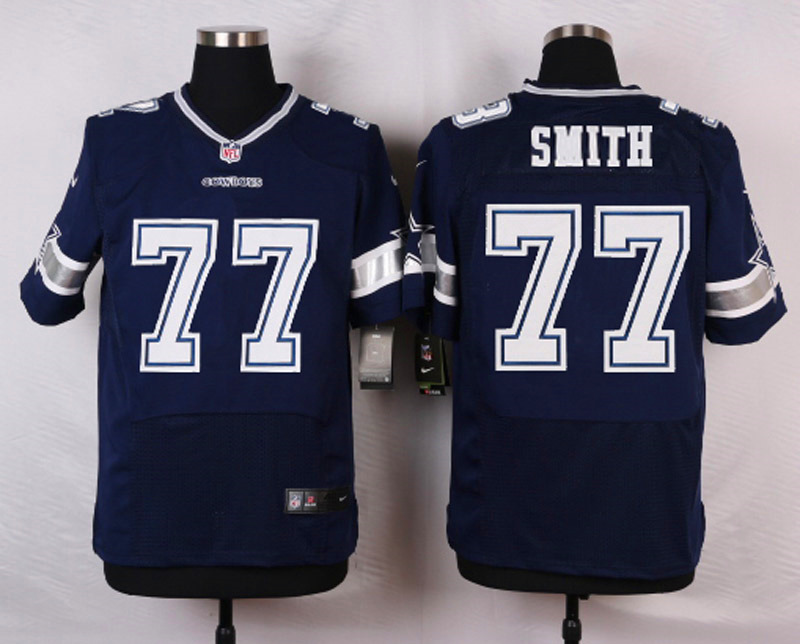 NFL Customize Dallas Cowboys 77 Smith Blue Men Nike Elite Jerseys