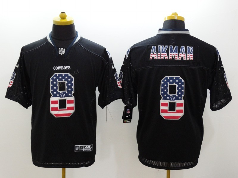 Dallas Cowboys 8 Aikman Black Nike USA Flag Fashion Elite Jerseys