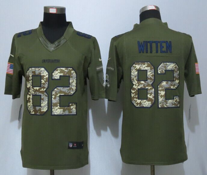 Dallas Cowboys 82 Witten Green New Nike Salute To Service Limited Jersey.