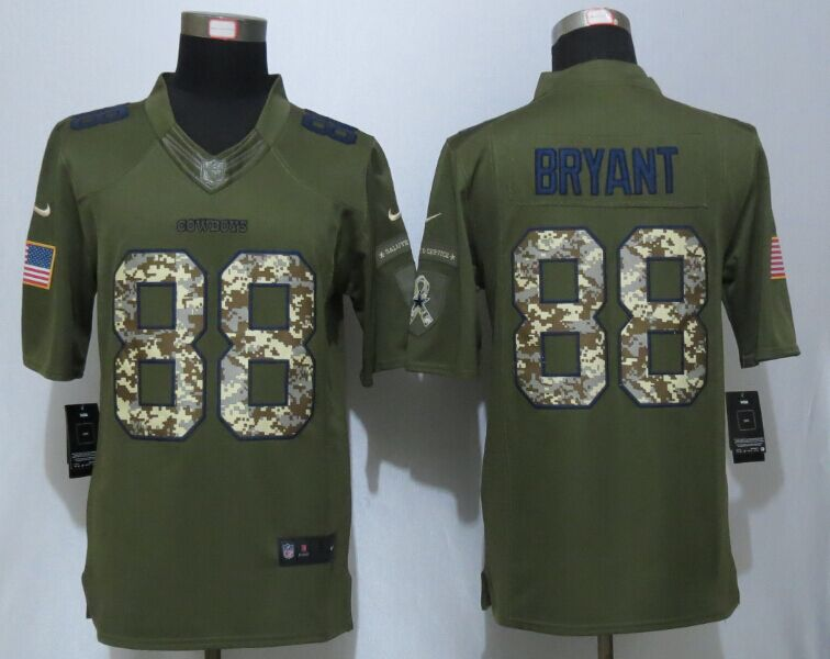 Dallas Cowboys 88 Bryant Green New Nike Salute To Service Limited Jersey