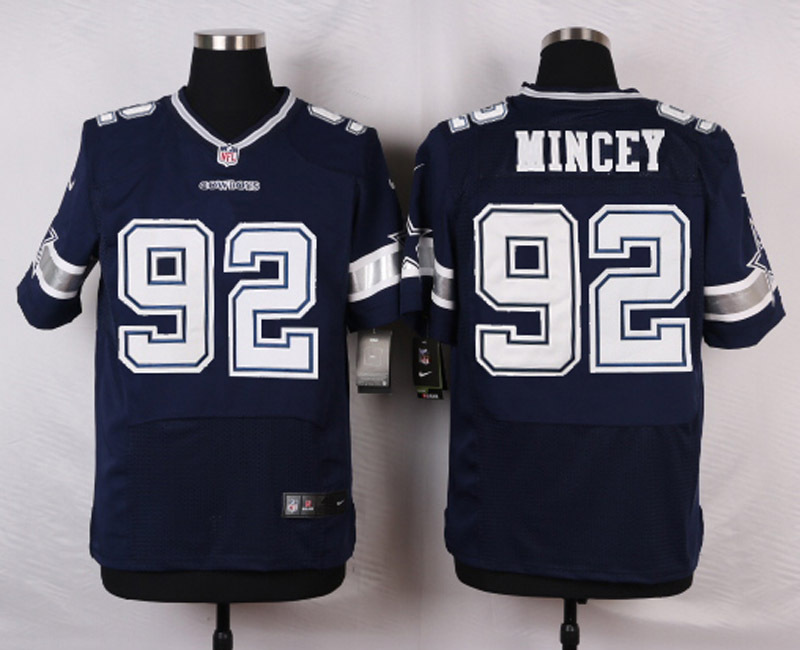 NFL Customize Dallas Cowboys 92 Mincey Blue Men Nike Elite Jerseys