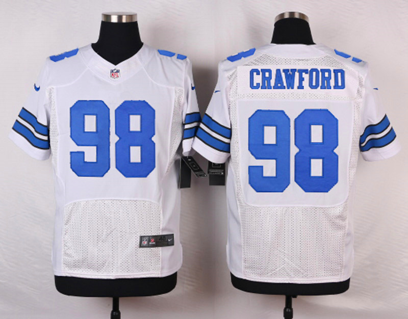 NFL Customize Dallas Cowboys 98 Crawford White Men Nike Elite Jerseys