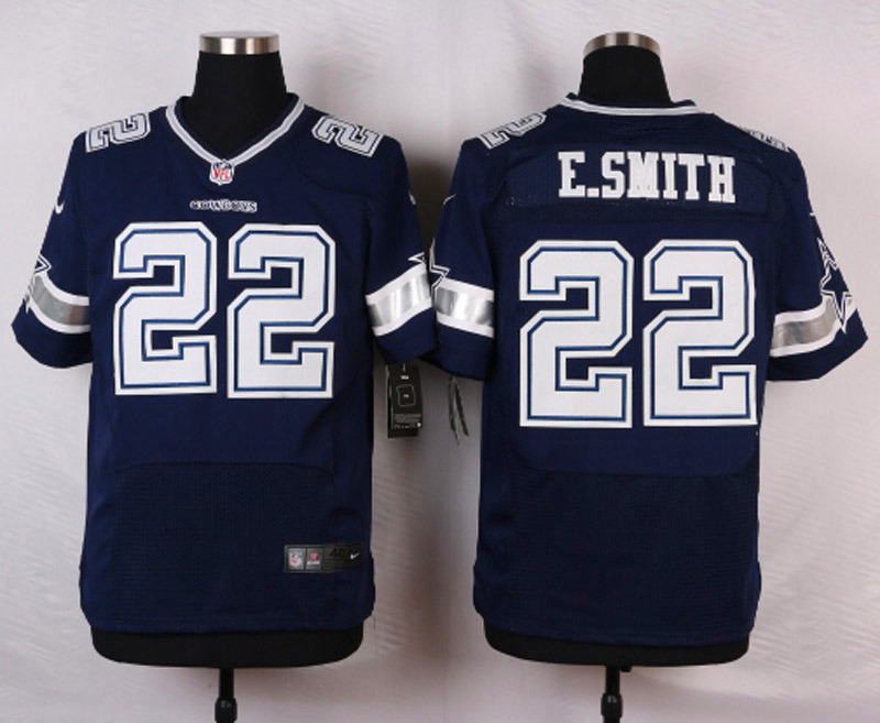 NFL Customize Dallas cowboys 22 E.smith Blue Men Nike Elite Jerseys