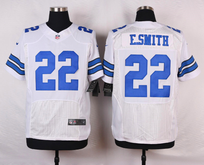 NFL Customize Dallas cowboys 22 E.smith White Men Nike Elite Jerseys