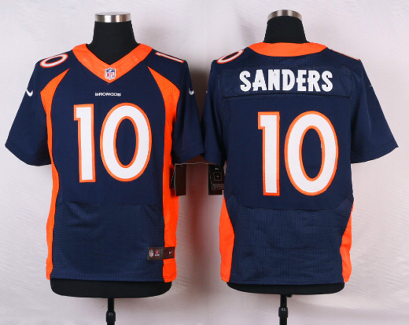 NFL Customize Denver Broncos 10 Sanders Blue Men Nike Elite Jerseys