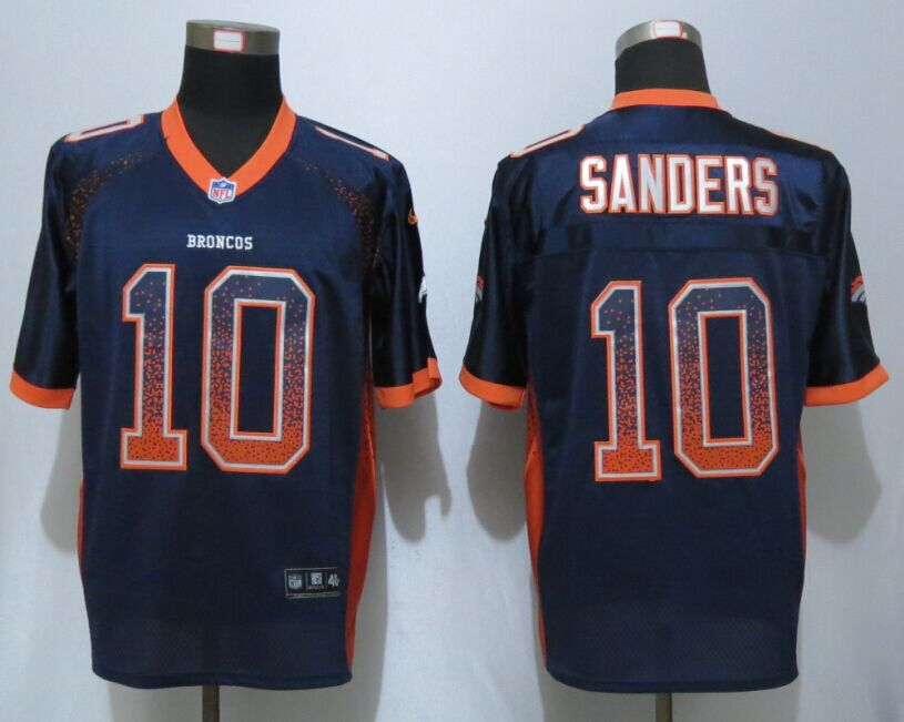 Denver Broncos 10 Sanders Drift Fashion Blue NEW Nike Elite Jerseys