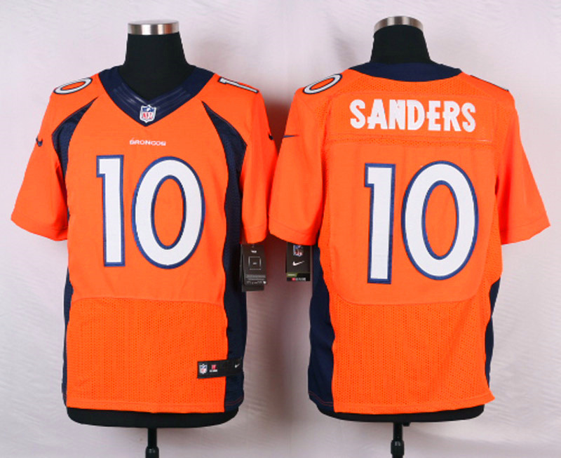 NFL Customize Denver Broncos 10 Sanders Orange Men Nike Elite Jerseys
