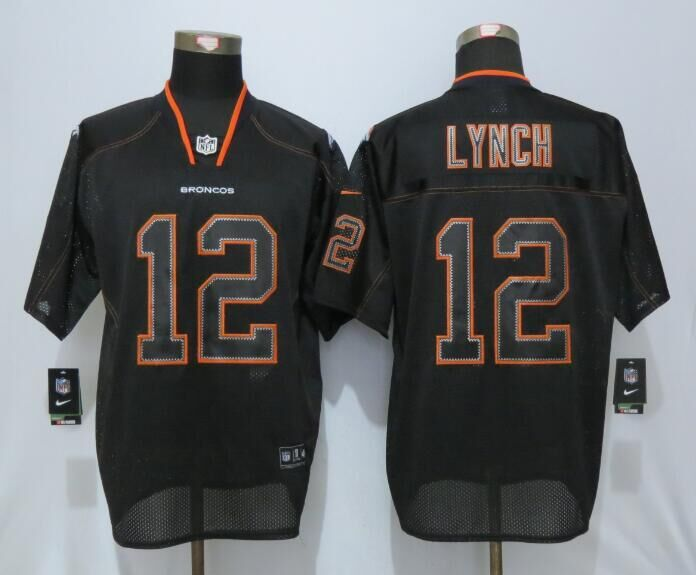 Denver Broncos 12 Lynch Lights Out Black Nike Elite Jerseys