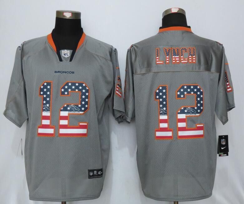 Denver Broncos 12 Lynch USA Flag Fashion Gray New Nike Elite Jerseys