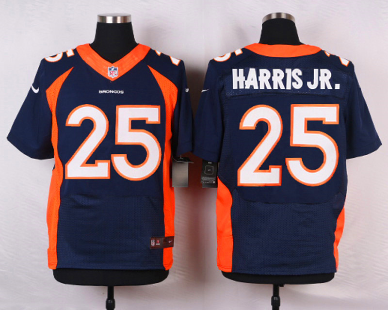 NFL Customize Denver Broncos 25 Harris JR.Blue Men Nike Elite Jerseys