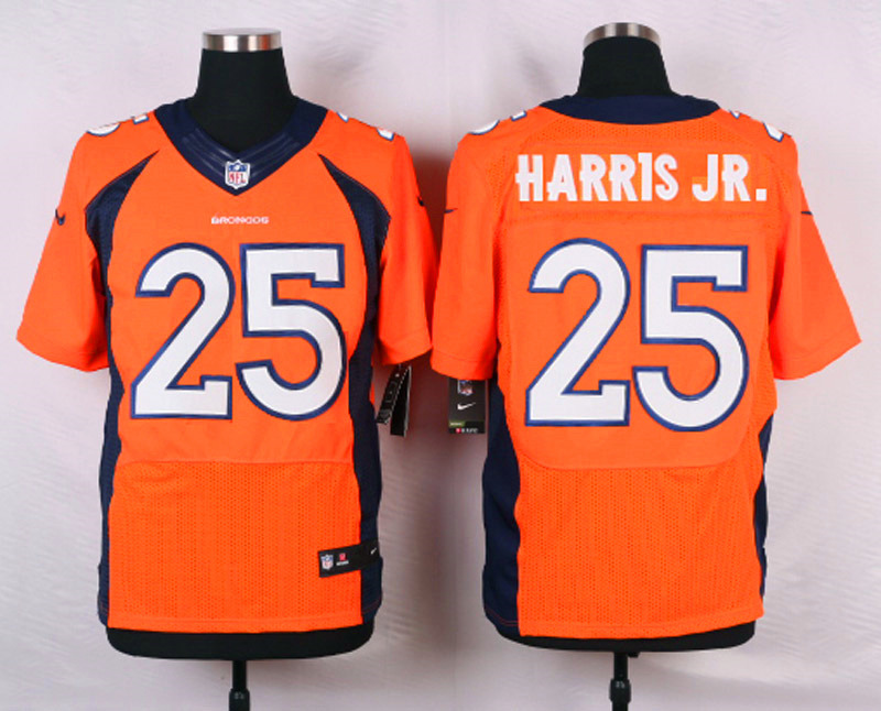 NFL Customize Denver Broncos 25 Harris JR.Orange Men Nike Elite Jerseys