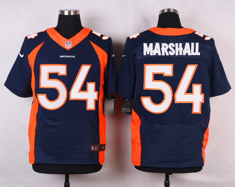 NFL Customize Denver Broncos 54 Marshall Blue Men Nike Elite Jerseys