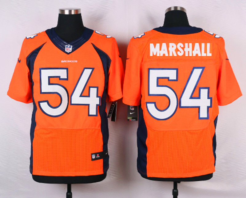 NFL Customize Denver Broncos 54 Marshall Orange Men Nike Elite Jerseys