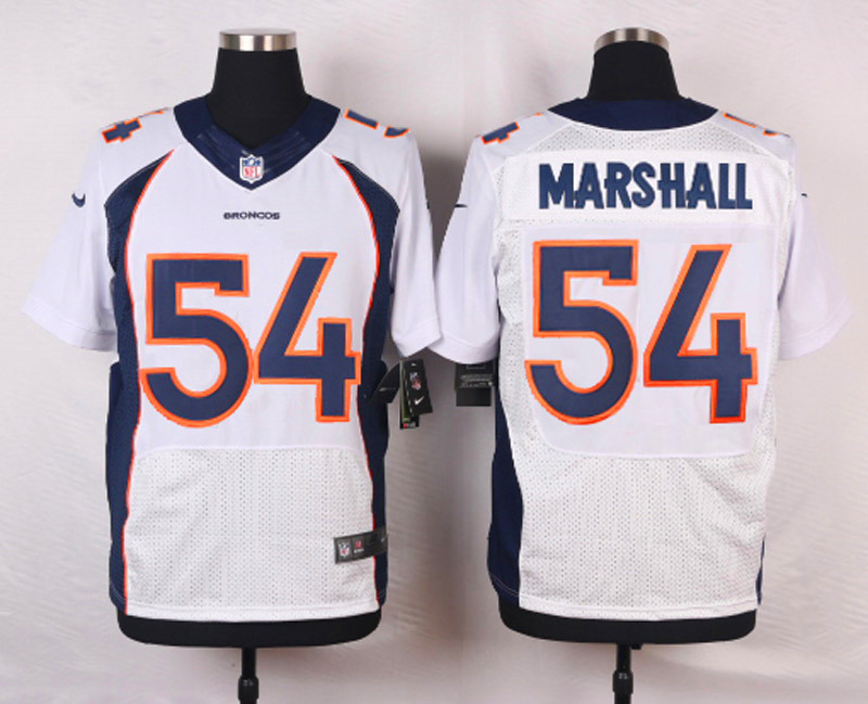 NFL Customize Denver Broncos 54 Marshall White Men Nike Elite Jerseys
