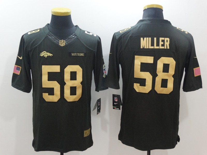 Denver Broncos 58 Miller Green Nike 2016 christmas gold edition jersey