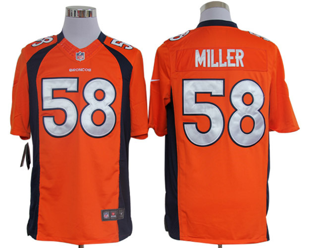 Denver Broncos 58 Miller Orange Nike Limited Jerseys