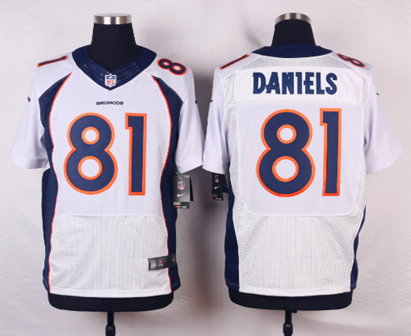 NFL Customize Denver Broncos 81 Daniels White Men Nike Elite Jerseys