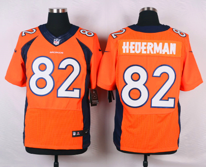 NFL Customize Denver Broncos 82 Heuerman Orange Men Nike Elite Jerseys