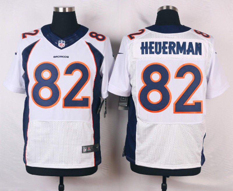 NFL Customize Denver Broncos 82 Heuerman White Men Nike Elite Jerseys