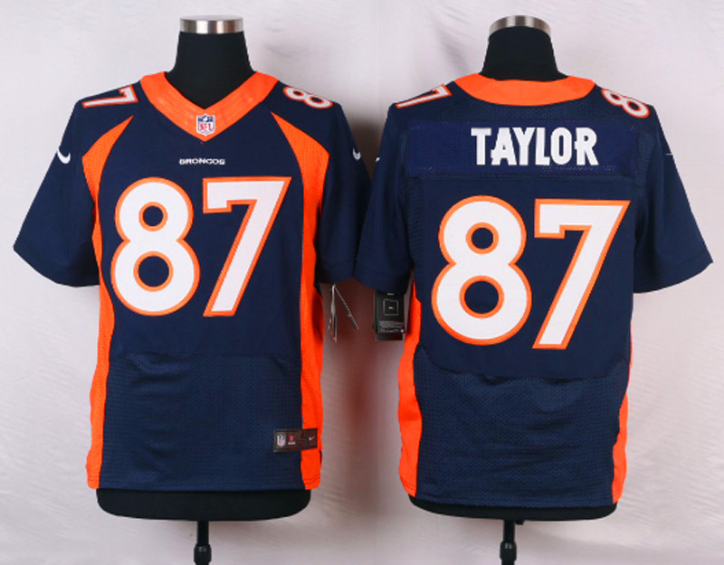 NFL Customize Denver Broncos 87 Taylor Blue Men Nike Elite Jerseys
