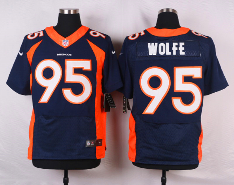 NFL Customize Denver Broncos 95 Wolfe Blue Men Nike Elite Jerseys