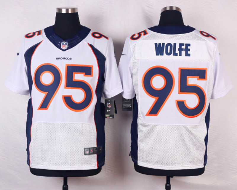 NFL Customize Denver Broncos 95 Wolfe White Men Nike Elite Jerseys
