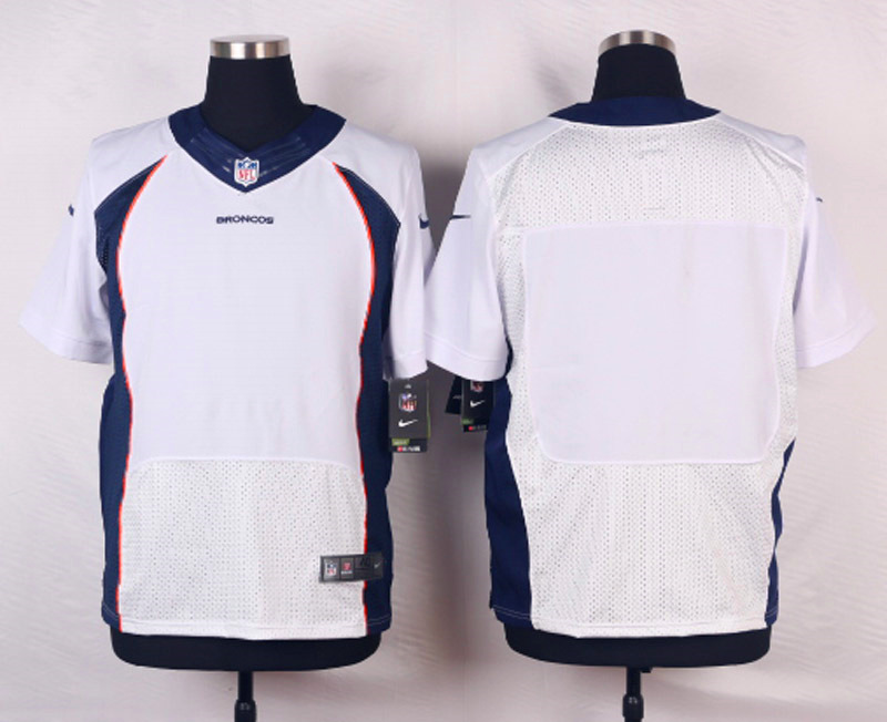NFL Customize Denver Broncos Blank White Men Nike Elite Jerseys