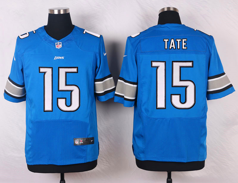 NFL Customize Detroit Lions 15 Tate III Blue Men Nike Elite Jerseys