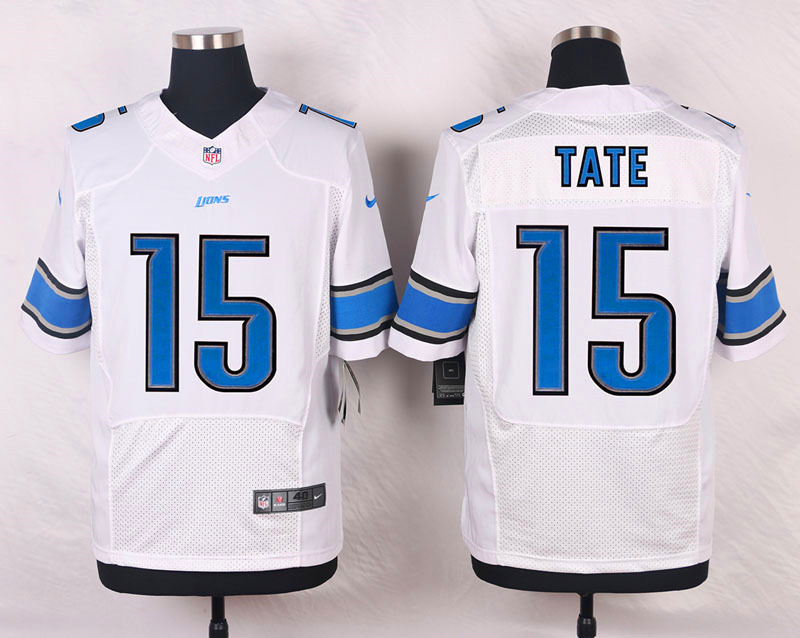 NFL Customize Detroit Lions 15 Tate III White Men Nike Elite Jerseys