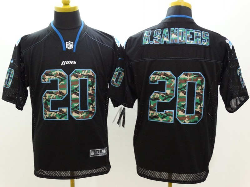 Detroit Lions 20 B-Sanders Black Nike Elite Camo Fashion Jerseys