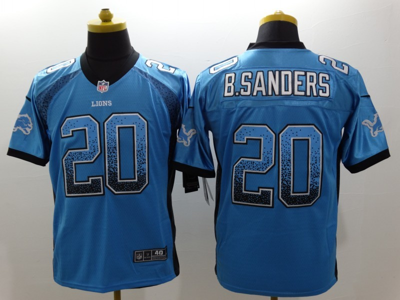 Detroit Lions 20 B-Sanders Drift Fashion Blue Nike Elite Jerseys
