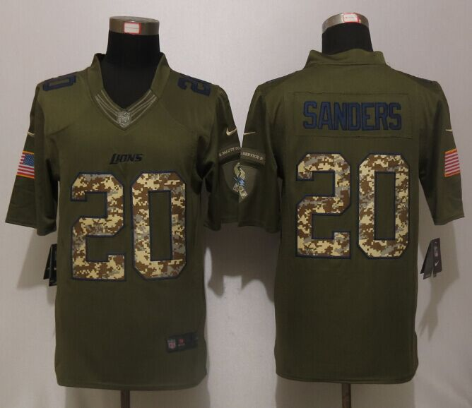Detroit Lions 20 B.Sanders Green Salute To Service New Nike Limited Jersey