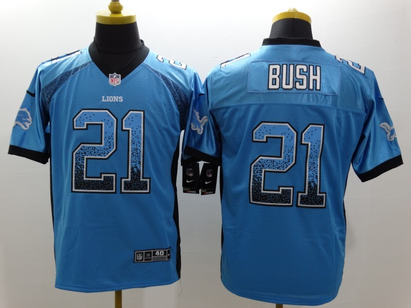Detroit Lions 21 Bush Drift Fashion Blue Nike Elite Jerseys