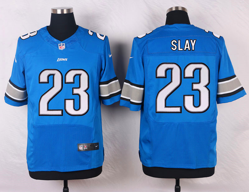 NFL Customize Detroit Lions 23 Slay Blue Men Nike Elite Jerseys