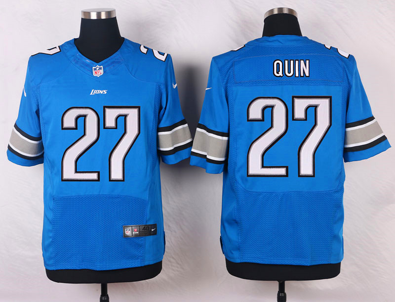 NFL Customize Detroit Lions 27 Quin Blue Men Nike Elite Jerseys