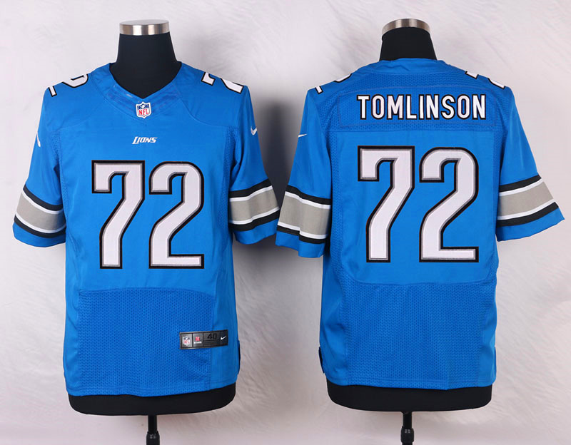 NFL Customize Detroit Lions 72 Tomlinson Blue New 2015 Nike Elite Jersey