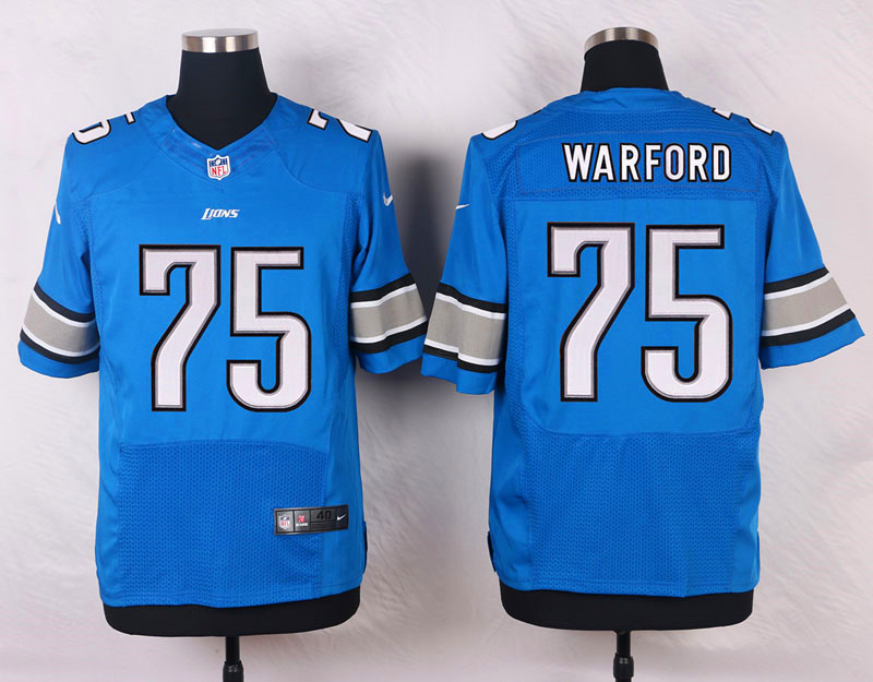 NFL Customize Detroit Lions 75 Warford Blue Men Nike Elite Jerseys