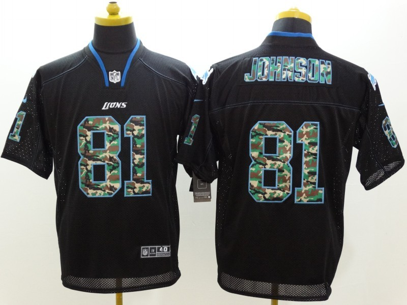 Detroit Lions 81 Johnson Black Nike Elite Camo Fashion Jerseys