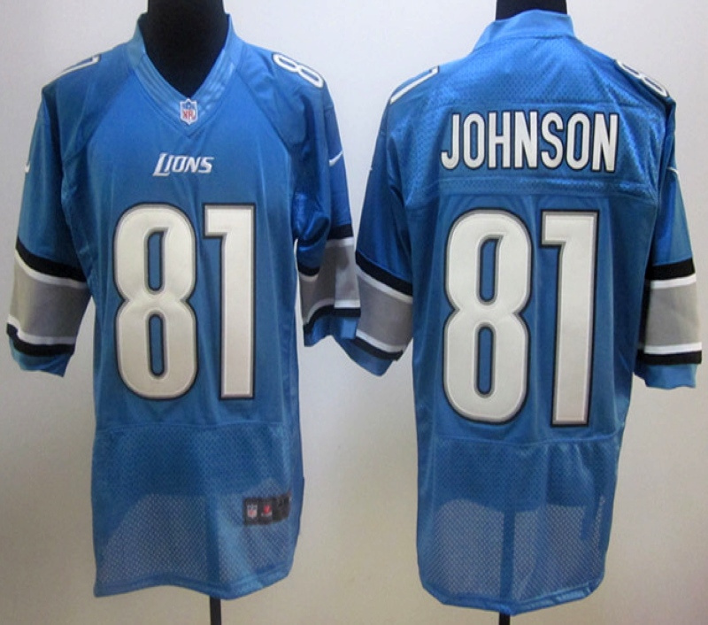 Detroit Lions 81 Johnson Blue Nike Elite Jersey
