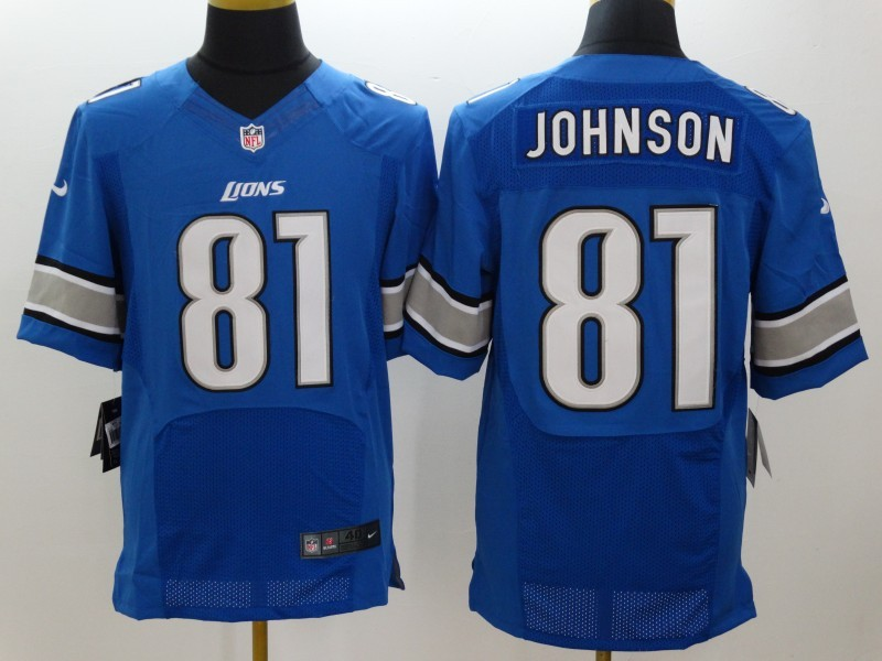 Detroit Lions 81 Johnson Blue Nike Elite Jerseys