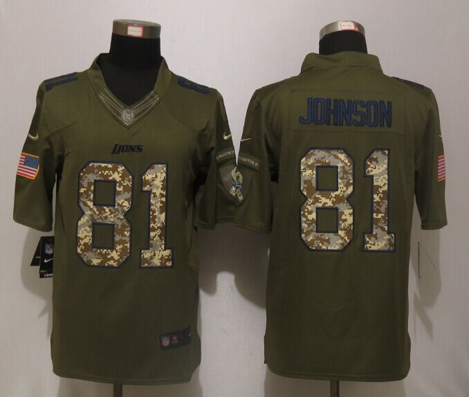Detroit Lions 81 Johnson Green Salute To Service New Nike Limited Jersey