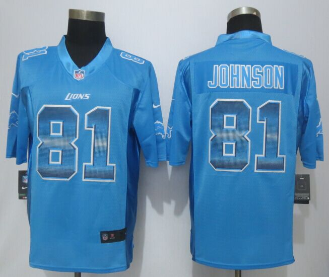 Detroit Lions 81 Johnson Pro Line Blue Fashion Strobe 2015 New Nike Jersey