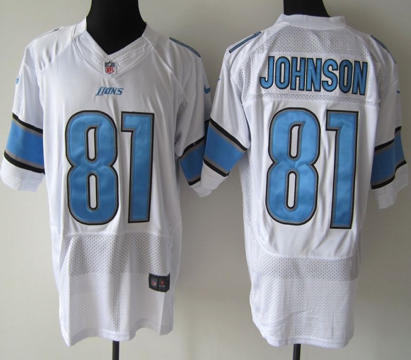 Detroit Lions 81 Johnson White Nike Elite Jersey