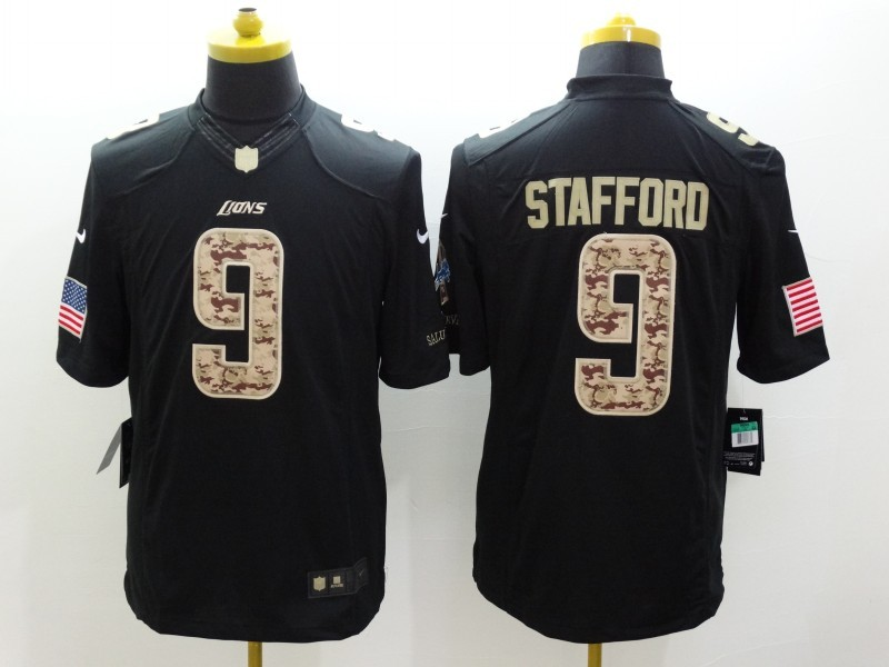 Detroit Lions 9 Stafford Black Nike Salute TO Service Jerseys