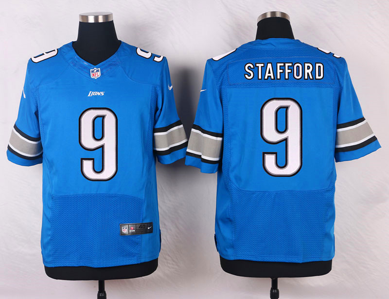 NFL Customize Detroit Lions 9 Stafford Blue 2015 Nike Elite Jersey