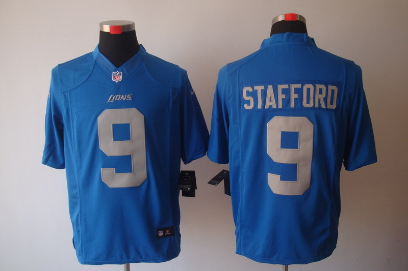 Detroit Lions 9 Stafford Blue Nike Limited Jerseys