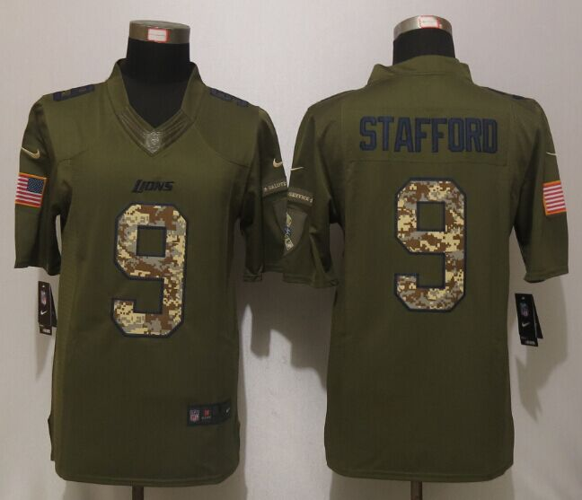 Detroit Lions 9 Stafford Green Salute To Service New Nike Limited Jersey